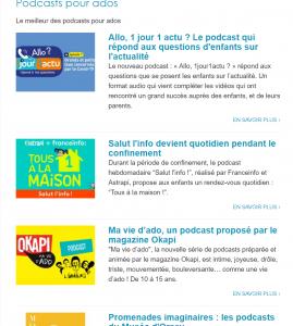 Capture d'écran de la page de publication des podcasts