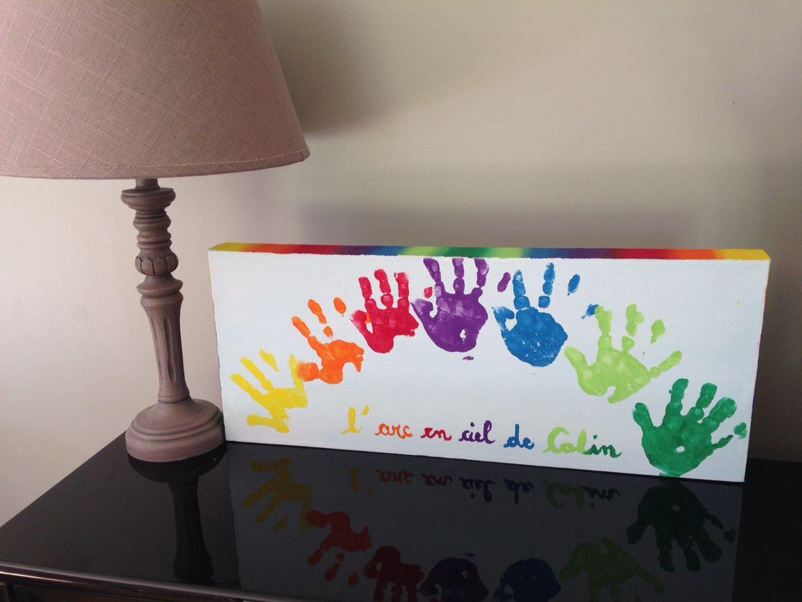 Tableau multicolore d'empreinte de main à la peinture en forme et couleur d'arc-en-ciel
