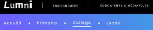 Capture d'écran bandeau d'accueil Lumni