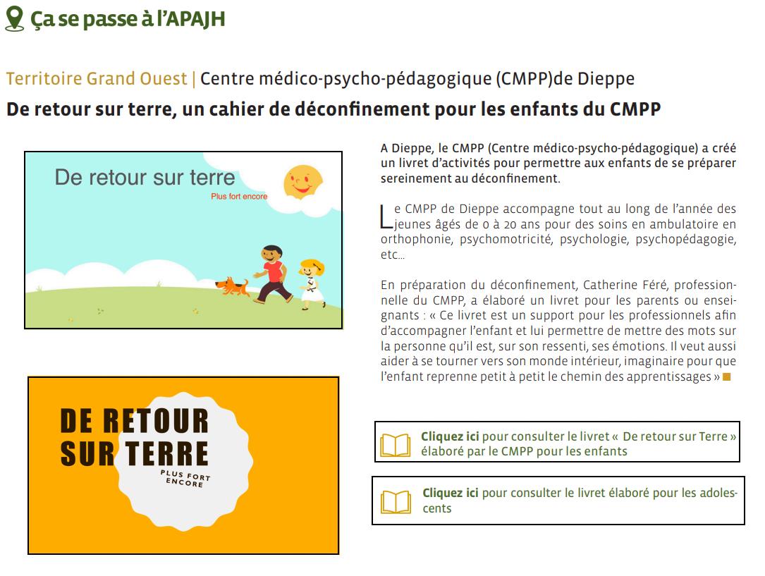 """Extrait de """"En Direct la lettre d'infos bimestrielle des salariés de la Fédération APAJH"""