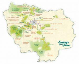 Carte des forêts Île-de-France accessibles en transports en commun