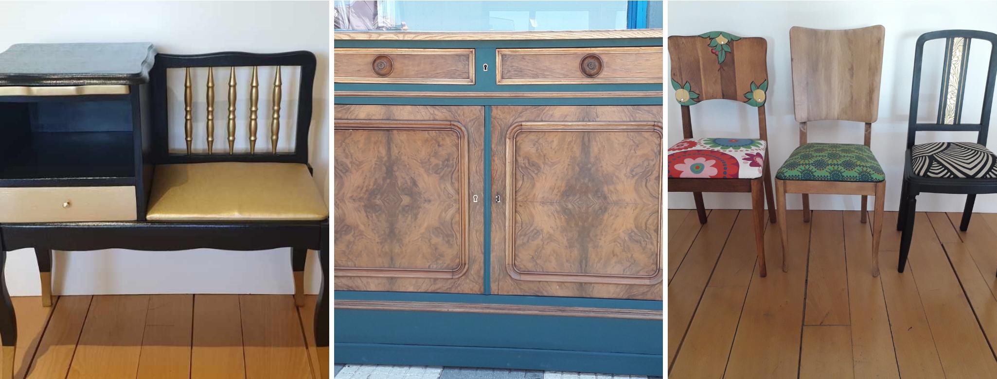 La recyclerie créative de l ESAT restaure et transforme des meubles et objets en bois, issus de la récupération